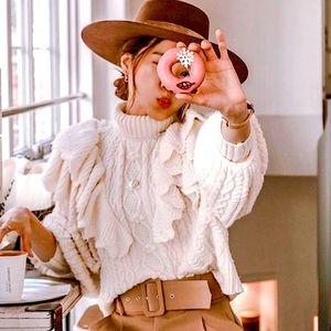 NWT Zara Wool Ruffled Cable Knit Sweater Cream SM